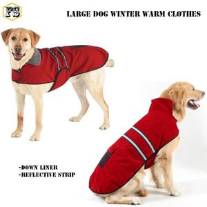 الحيوانات الأليفة العرض كبير الكلب توريد الشتاء الملابس الدافئة سميكة أسفل بطانة قطاع عاكس الكلب كبير الكلب معاطف 4 ألوان بالجملة شحن مجاني