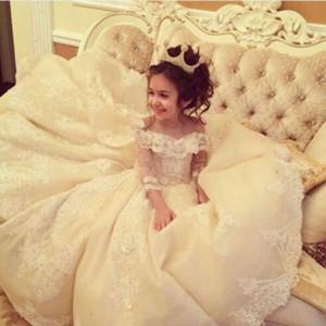 Prenses Balo Çiçek Kız Elbise Uzun Kollu Dantel Aplikler İlk Communion elbise Yumuşak Tül Lace Up Geri Pageant elbise