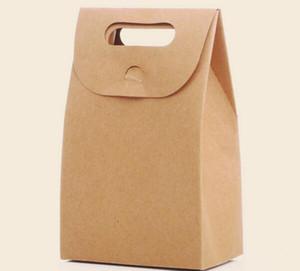 10cm x6cm x 15.5cm Caja de regalo de papel Kraft Bolsas de papel de caramelo con asas de papel Kraft Candy Treat Simple Venta al por mayor Caja de regalo grande 50pcs / lot