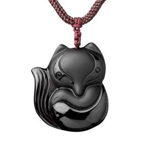 Ручной резной природный Обсидиан камень Фокс удачи ожерелье кулон
