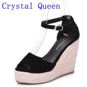 Crystal Queen Damen Espadrille Wedges Sandalen Roman Bohemian Damen High Heels Offene Zehensandalen Knöchelriemen Cross-gebundene Schuhe