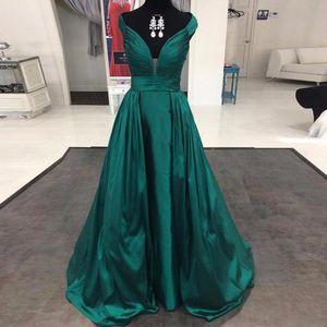 Sexy Longue Robe De Soirée Robes Longos De Festa 2019 Col V Profond Hors Les Épaules Vert Satin Robes De Bal Pas Cher