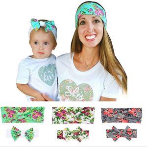Baby kids Flower print Headbands 2pc set Girls Headwear Mom and kids Hair Accessories suits Hair bands