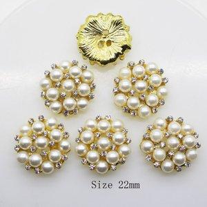 50 unids 22 mm Ronda Rhinestones botón de la perla decoración de la boda Diy hebillas de accesorios de plata / oro