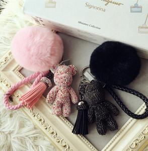 Роскошные симпатичные Bling полный CZ стразы мрачный медведь брелок автомобиля брелок кольцо кулон для мешок очарование Hotsale подарки