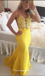 Yellow Lace Evening Dress Mermaid With Bow Floor Length Long Women Wear Special Occasion Dress Party Gown Custom Made Plus Size