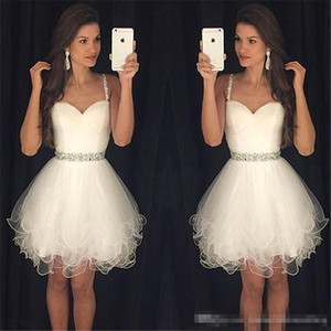 Barato Little White Marfim Vestidos Homecoming 2017 Plus Size Espaguete Curto Prom Vestido de Festa Frisada Sash Juniors Dama De Honra Cocktail Wear