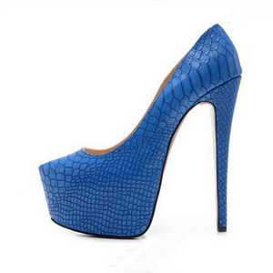 Größe 34-45 Frauen 16cm High Heels Schwarz Snake Leather Brand New Fashion Red Bottom Plateauschuhe, Damen Luxus Design Wedding Dress Shoes