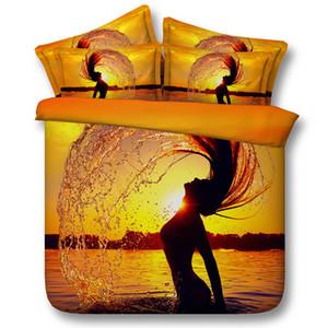 3 Stilleri Turuncu Güzeller Yüzme Sunset 3D Baskılı Yatak Takımları Ikiz Tam Kraliçe Kral Yorgan Yastık Yorgan Seaside Kapakları 3/4 ADET