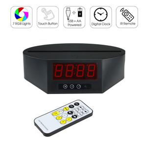 Base LED de largo con el reloj 7 RGB luces de infrarrojos a distancia de 16 cm de largo de la ranura para la placa de acrílico batería AA y al por mayor fábrica Powered USB
