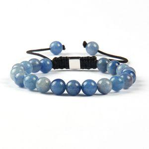 Großhandel Shambhala Armbänder 8mm natürlichen Tigerauge, Lapislazuli, hellgrün und blau Aventurin Stein Perlen mit silbernen quadratischen Armband