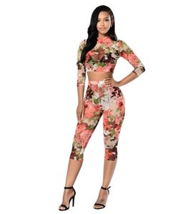 New Rompers Womens Jumpsuit Casual Rose prints Two Piece Jumpsuits Set Bodysuit Women Sexy Tracksuit For Women long pants