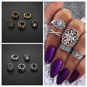 Vintage Totem Flowers Knuckle Stapeln Ring Sets Antik Silber / Gold Ton Knuckle Midi Mid Finger Tipp Stacking Rin