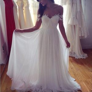 Robes de mariée abordable sur l'épaule Sweetheart en mousseline de soie robes de mariée longues Sexy Backless robes de mariée pas cher