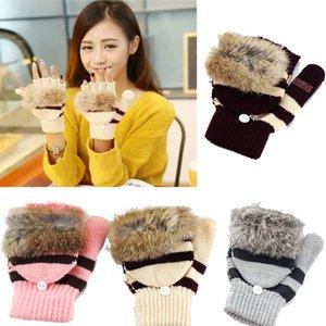 Guanti inverno caldo signore pelliccia di coniglio ragazza multifunzione maglieria touch screen guanti invernali femminili guanti caldi W028