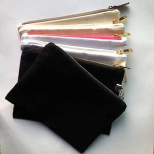 cosméticos saco 1pc 12 onças em branco lona de algodão com ouro / prata zip unissex porta-moedas casuais em branco compo o saco com correspondência a cor do forro 7x10in