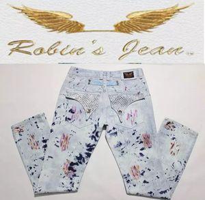 robin jeans famosa marca robins jeans denim com asas bandeira americana multicolor rasgado jeans para homens