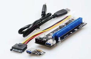 2017New وصول PCI-E PCI Express Riser Card 1x to 16x USB 3.0 Data Cable SATA to 4Pin IDE Molex Power supply for BTC Miner Machine