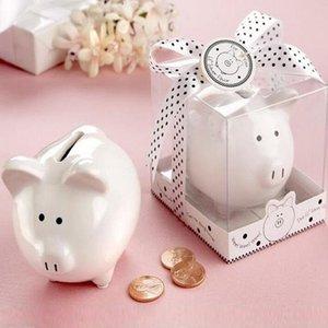 Belle Petite Céramique Porc Piggy Bank Avec Boîte De Naissance Faveurs De Mariage Cadeaux Enfants Cadeau Faire Des Tirelires ZA1370