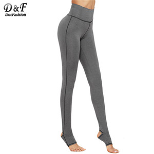 Wholesale- Dotfashion Warm Pants for Women Fashion Women's Casual Pants Grey Marled Knit Topstitch Stirrup Slim Leggings