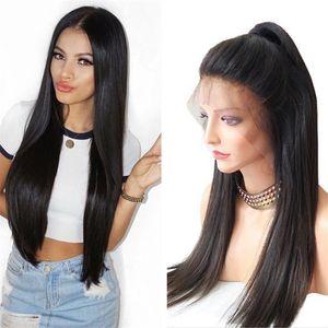 Toptan Ipek Düz Brezilyalı Saç Peruk Doğal Renk 100 İnsan Saç Tam Dantel Peruk Ücretsiz Kargo