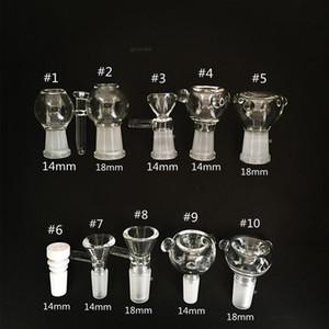 Diapositivas de vidrio Cuenco Tazas Bongs Cuencos Funnel Rig Accesorios Clavo de cerámica 18 mm 14 mm Hombre Mujer Heady Fumar pipas de agua Perforadoras Bong Slide