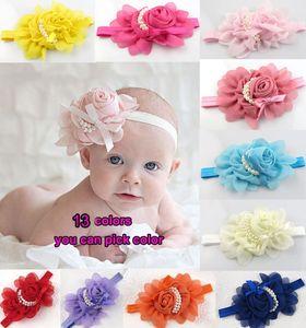 Lace infantile del fiore fasce del bambino con perle fasce adatta photography ragazza Hairband Headwear scherza Puntelli bambino appena nato per capelli accessori