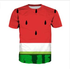 vente chaude nouvelle mode femmes / Mens pastèque drôle impression 3D sublimation T-shirts, plus la taille TX065