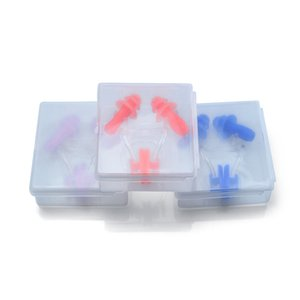 10Sets X Waterproof Soft Silicone Swimming Set Nose Clip With Ear Plug Earplug With Box Asssorted Colours