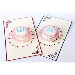 3D pop up handmade laser cut vintage cards Birthday cake with candle creative gifts postcard birthday greeting cards