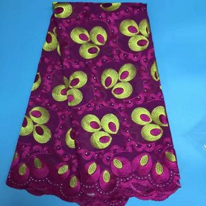 5 Yds pc Beautiful purple and yellow embroidery african cotton fabric with rhinestones swiss voile lace for clothes BC142-8