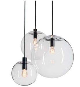 Modern Nordic Lustre Globe Pendant Lights Bola de cristal Lámpara de sombra Lámpara colgante E27 Suspensión Kitchen Light Fixtures Iluminación para el hogar LLFA