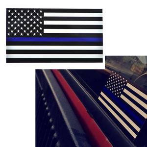 Adhésifs de décalque de drapeau américain de ligne bleue mince pour des camions de voitures - autocollant de décalque de drapeau américain des États-Unis, 6.5 * 11.5CM pour le mur de fenêtre