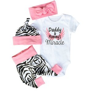 Baby Girls Clothes 4pcs Toddler Infant Girls Outfits Headband+T-shirt+Floral Pants+hat Newborn Infant Kids Baby Girls T-shirt kids clothing