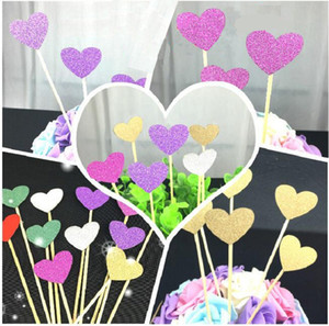cake toppers glitter heart paper cards banner for Cupcake Wrapper Baking Cup birthday tea party wedding decoration baby shower