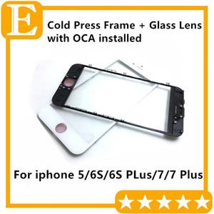 Cold Press Glue front Frame + Obiettivo in vetro con pellicola OCA installata Pre-assemblato per iPhone 5 6S 6S Plus 7G 7 Puls Black White