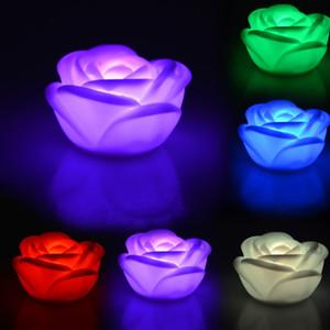 1Pc 낭만주의 변경 7 색 장미 꽃 LED 라이트 밤 촛불 빛 아이 선물 장난감 E00031 BARD