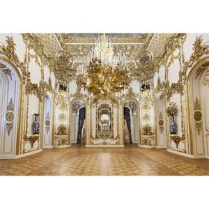 Lüks Saray Avize Fotoğraf Arka Planında Beyaz Oyma Altın Oymalar Beyaz Duvar İç Düğün Fotoğraf Çekimi için Arka Stüdyoları