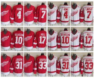 Vintage Detroit Red Wings 4 Mark Howe 7 Ted Lindsay 10 Alex Delvecchio 33 Kris Draper 31 Curtis Joseph 17 Brett Hull Hockey Maglia Vintage