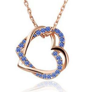 O ouro chapeado Damond Colar de pingente de camisola Cadeia de categoria Zircon artificial Double Heart em forma de jóias de pingente de diamante para presente de Natal