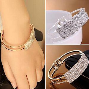 hot sell bangle New Fashion Elegant Women Bangle Wristband Bracelet Crystal Cuff Bling Lady Jewelry Gift