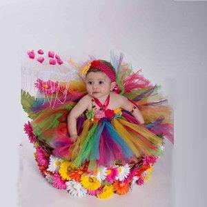 Multicolore Halter Couches Tulle Bébé Fille Robe Fabriqué À La Main Fleur Long Coloré Rainbow Girls robes robes Pageant Personnalisé