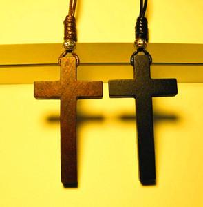 Cristianismo Jesús cruz de madera collar colgante de cuentas de plata tibetanas largos suéter cadena amantes hechos a mano con estilo 2017 nuevo 12 unids