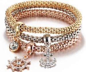 5 styles Elastic Corn Chain with Diamond Bangle animal Pendant Top Quality Bracelets & Bangles Three Color Jewelry Set for Women
