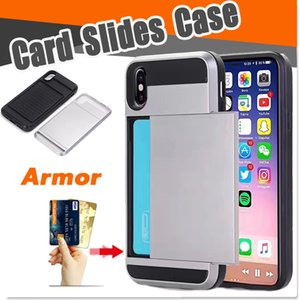 Slot per scheda Slot per scheda Pocket Armor 2 in 1 Cover antiurto a doppio strato per iPhone XS Max XR X 8 7 6 Plus Samsung Note 9 S9 S8 S7 J3 J4 J6 J7