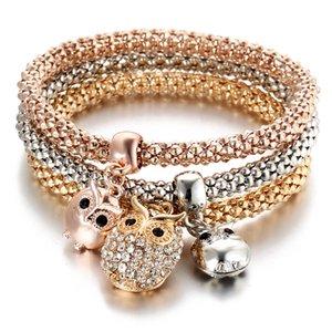 Owl Rhinestone Crystal Charm Pulsera 3 Unids en uno Sets Pulseras 3 Color Beauty Elastic Chain Casual Colgante Pulseras