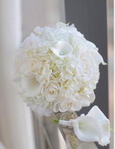 Yeni Varış Düğün Buketleri Gelin Çiçek Buketi Flores Artificiais Atacado Broş Gelin Buketi Düğün Aksesuarları Stokta