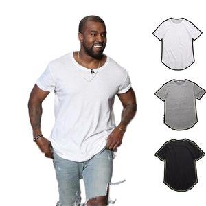 мужская футболка Kanye West Extended T-Shirt Мужская одежда Изогнутые Хем Длинные линии Топы Тис Hip Hop Urban Blank Justin Bieber Рубашки мужские TX135-R3