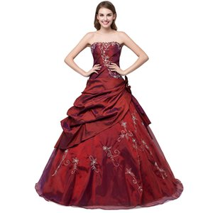 2017 Stock Superbe Broderie Pas Cher Quinceanera Robes Debutante Robes De Bal Avec Sweetheart Décolleté Taffetas Pick-Up Robes De Quinceanera