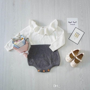 Venta al por menor Primavera Otoño Nueva Baby Body mono Peteries Collar de punto de algodón de manga larga Princesa Jumpsuit Ropa para niños 1809